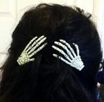 Skeleton Hands Hair Clips